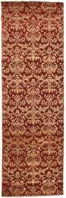 Damask Rug 77X242 Authentic  Modern Handknotted Hallway Runner  Dark Brown/Light Brown ( India)
