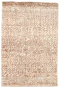 Damask Rug 124X185 Authentic  Modern Handknotted Light Pink/Beige/Light Brown ( India)