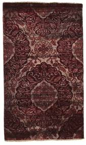 Damask Matto 100X169 Moderni Käsinsolmittu Tummanruskea/Tummanpunainen ( Intia)