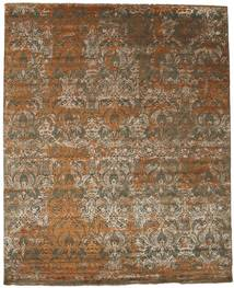 Damask Rug 251X309 Authentic  Modern Handknotted Light Brown/Brown Large ( India)