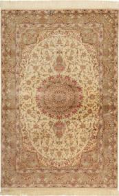 Ghom Zijde Tapijt 97X150 Echt Oosters Handgeknoopt Lichtbruin/Bruin (Zijde, Perzië/Iran)