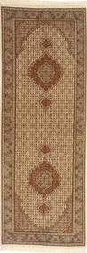 Tabriz 50 Raj Tæppe 82X260 Ægte Orientalsk Håndknyttet Tæppeløber Lysebrun/Brun (Uld/Silke, Persien/Iran)