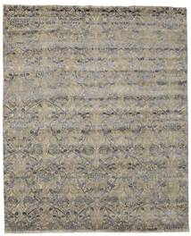 Damask Rug 252X308 Authentic  Modern Handknotted Light Grey/Olive Green Large ( India)