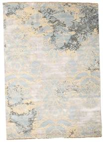 Damask Alfombra 172X244 Moderna Hecha A Mano Gris Claro/Beige ( India)