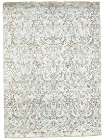 Damask Rug 174X241 Authentic  Modern Handknotted Light Grey/Beige ( India)