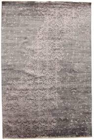 Damask Tæppe 195X310 Ægte Moderne Håndknyttet Lysegrå/Mørkegrå ( Indien)