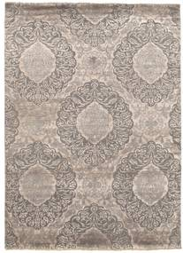Damask Rug 175X240 Authentic  Modern Handknotted Light Grey/Dark Grey ( India)