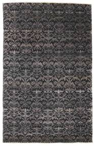 Damask Rug 164X255 Authentic  Modern Handknotted Black/Dark Grey ( India)