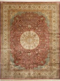 Kashmir 100% Silkki Matto 278X360 Itämainen Käsinsolmittu Vaaleanruskea/Ruskea Isot (Silkki, Intia)