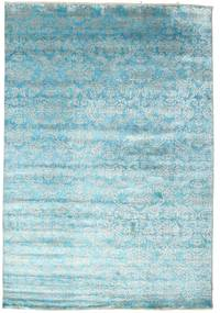 Damask Rug 204X299 Authentic  Modern Handknotted Light Blue/Turquoise Blue ( India)