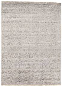 Damask Rug 154X214 Authentic  Modern Handknotted Light Grey/White/Creme/Dark Grey ( India)
