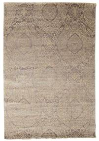 Damask Rug 165X242 Authentic  Modern Handknotted Light Grey/Beige ( India)