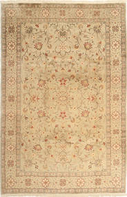 Yazd Rug 201X302 Authentic  Oriental Handknotted Dark Beige/Light Brown (Wool, Persia/Iran)