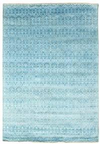Damask Tæppe 166X243 Ægte Moderne Håndknyttet Lyseblå/Turkis Blå ( Indien)