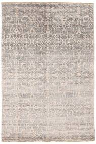 Damask Rug 174X260 Authentic  Modern Handknotted Light Grey/White/Creme ( India)