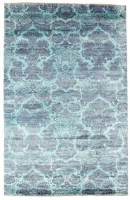 Damask Rug 196X303 Authentic  Modern Handknotted Light Blue/Turquoise Blue ( India)