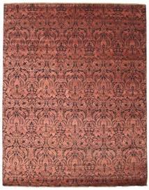 Damask Vloerkleed 243X304 Echt Modern Handgeknoopt Donkerrood/Roestkleur ( India)