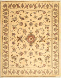 Yazd Rug 200X251 Authentic  Oriental Handknotted Dark Beige/Light Brown (Wool, Persia/Iran)