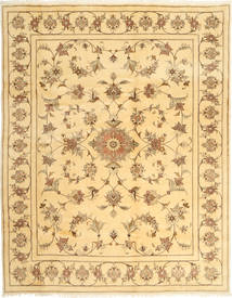 Yazd Rug 197X254 Authentic  Oriental Handknotted Light Brown/Dark Beige (Wool, Persia/Iran)