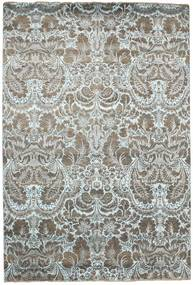 Damask Rug 203X302 Authentic  Modern Handknotted Light Grey/Dark Grey ( India)