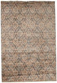 Damask Matta 206X306 Äkta Modern Handknuten Ljusbrun/Mörkbrun ( Indien)
