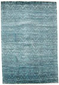 Damask Rug 204X299 Authentic  Modern Handknotted Dark Turquoise  /Blue/Light Blue ( India)