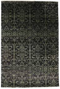 Damask Rug 203X305 Authentic  Modern Handknotted Black/Dark Grey ( India)