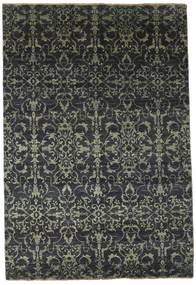 Damask Rug 174X257 Authentic  Modern Handknotted Black/Dark Grey ( India)