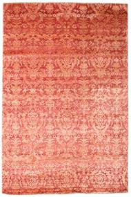 Damask Rug 197X298 Authentic  Modern Handknotted Light Pink/Rust Red ( India)