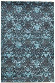 Damask Rug 198X302 Authentic  Modern Handknotted Dark Blue/Light Blue ( India)