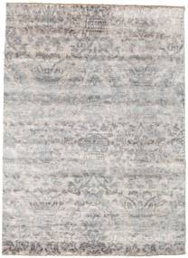 Damask Rug 176X242 Authentic  Modern Handknotted Light Grey/White/Creme ( India)