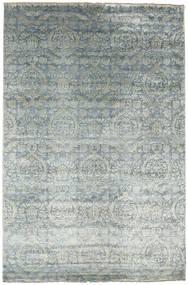 Damask Tæppe 198X301 Ægte Moderne Håndknyttet Lysegrå/Beige ( Indien)
