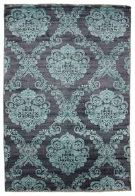 Damask Rug 206X302 Authentic  Modern Handknotted Dark Grey/Light Blue ( India)