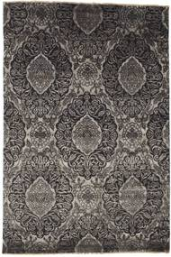 Damask Rug 163X243 Authentic  Modern Handknotted Dark Grey/Black/Light Grey ( India)