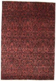 Damask Matta 172X244 Äkta Modern Handknuten Mörkröd/Brun ( Indien)
