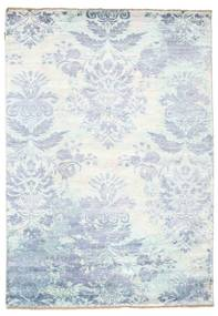Damask Rug 170X242 Authentic  Modern Handknotted White/Creme/Light Blue ( India)
