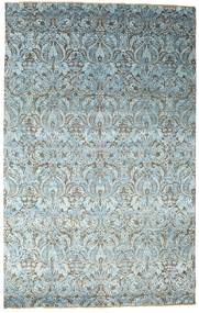 Damask Rug 195X308 Authentic  Modern Handknotted Light Blue/Light Grey ( India)