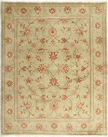 Yazd Rug 201X253 Authentic  Oriental Handknotted Light Green/Light Brown (Wool, Persia/Iran)