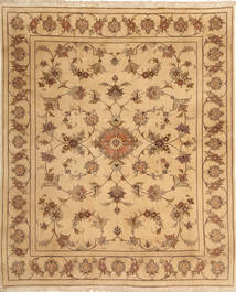 Yazd Rug 197X238 Authentic  Oriental Handknotted Light Brown/Dark Beige (Wool, Persia/Iran)