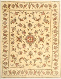 Yazd Rug 194X247 Authentic  Oriental Handknotted Light Brown/Light Pink (Wool, Persia/Iran)