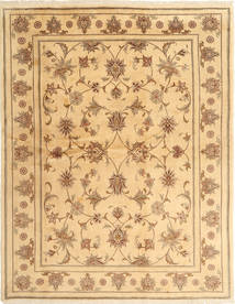Yazd Rug 191X248 Authentic  Oriental Handknotted Dark Beige/Light Brown (Wool, Persia/Iran)