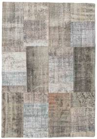 Patchwork Rug 141X202 Authentic Modern Handknotted Light Grey/Light Brown (Wool, Turkey)