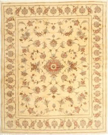 Yazd Rug 197X243 Authentic  Oriental Handknotted Light Brown/Light Pink (Wool, Persia/Iran)