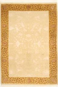 Tabriz Royal Tapete 104X146 Oriental Feito A Mão Castanho Claro/Luz Rosa ( Índia)