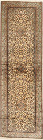 Kashmir Pure Silk Rug 82X277 Authentic  Oriental Handknotted Hallway Runner  Light Brown/Brown (Silk, India)