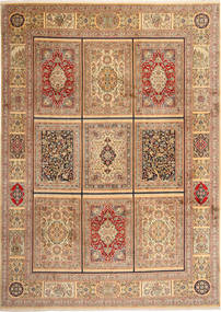 Kashmir Pure Silk Rug 246X343 Authentic  Oriental Handknotted Light Brown/Brown (Silk, India)