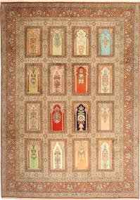 Kashmir Pure Silk Rug 244X355 Authentic Oriental Handknotted Light Brown/Brown (Wool/Silk, India)