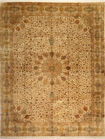 Kashmir Pure Silk Rug 297X389 Authentic Oriental Handknotted Brown/Light Brown Large (Silk, India)