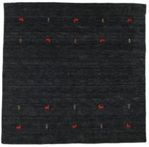 Gabbeh Loom Two Lines - Svart/Grå Teppe 200X200 Moderne Kvadratisk Mørk Blå (Ull, India)