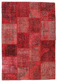 Patchwork Rug 138X201 Authentic  Modern Handknotted Crimson Red/Dark Red (Wool, Turkey)